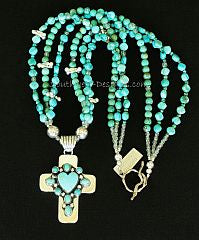 Dan Dodson Turquoise and Sterling Silver Cross Pendant with 3 Strands of Turquoise and Sterling