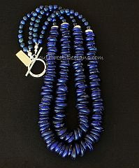 Dutch Donuts and Lapis 2-Strand Necklace with Sterling Silver