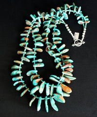 Fox Turquoise 2-Strand Tab Necklace with Turquoise Heishi and Sterling Silver