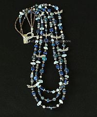 Mixed Gemstone, Crystal and Sterling Silver 3-Strand Necklace with Sterling Silver Dragonfly Charms