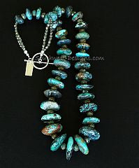 Turquoise Graduated Rondelle Bead Necklace with Czech Luster Glass, Fire Polished Glass & Sterling Silver
