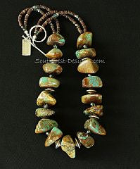 Turquoise Large Nugget Necklace with Fire Polished Glass, Olive Shell Heishi and Sterling Silver