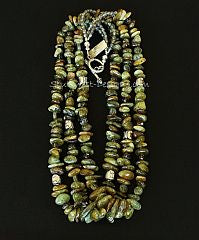Green Garnet Nugget 3-Strand Necklace with Czech Glass and Sterling Silver