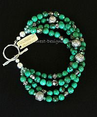 Green Turquoise Rounds 4-Strand Bracelet with Fire Polished Glass and Sterling Silver