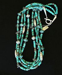 Turquoise Heishi 4-Strand Necklace with Hill Tribe Silver Cylinder Beads, Crystal Teardrops and Sterling Silver