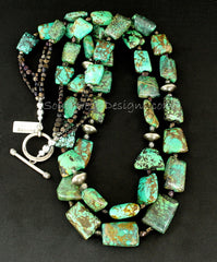 Rectangle-Cut Green Turquoise 2-Strand Necklace with Czechoslovakian Nailheads and Oxidized Sterling Silver Rondelles