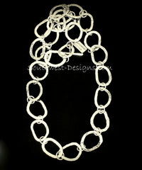 49-Piece Sterling Silver Hammered Ring Necklace with Sterling Toggle Clasp