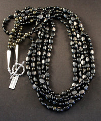 5-Strand Hypersthene and Obsidian Necklace with Sterling Silver