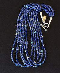Blue Indonesian Glass 6-Strand Necklace with Lapis, Crystal and Sterling Silver