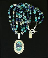 Turquoise, Lapis and Sterling Silver Inlaid Radius Pendant with 3 Strands of Chrysocolla, Lapis & Sterling