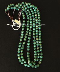 Peruvian Jade 3-Strand Necklace with Swarovski Crystal and Sterling Silver