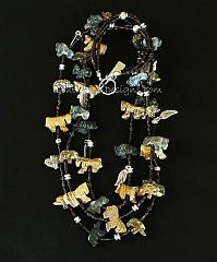 36-Piece Jasper and Horn Bead Talisman Necklace with Smoky Quartz, Tortoise Shell Heishi and Sterling Silver