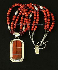 Chestnut Jasper and Sterling Silver 4-Stone Inlaid Pendant with 3 Strands of Apple Coral and Sterling