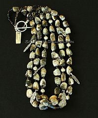 Jasper Tumbled Nugget 3-Strand Necklace with Smoky Quartz and Sterling Silver