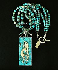 Kingman Turquoise and Sterling Silver Pendant with 3 Strands of Turquoise Graduated Rounds, Czech Glass & Sterling