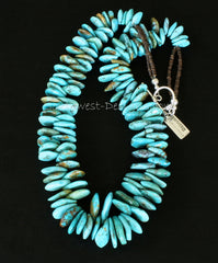 Kingman Turquoise Graduated Tab Necklace with Olive Shell Heishi and Sterling Silver