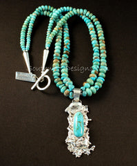 Kingman Turquoise & Reticulated Silver with 2 Strands of Nevada Blue Gem Turquoise Rondelles