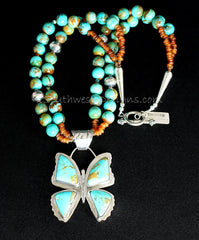 Kingman Turquoise and Sterling Silver Butterfly Pendant with 2 Strands of Turquoise Rounds, Horn Bead and Sterling