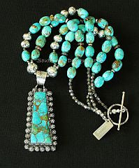 Kingman Turquoise and Sterling Silver Concho Button Pendant with Kingman Turquoise Ovals and Sterling Silver