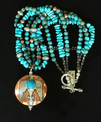 Kingman Turquoise, Sterling Silver and Copper 2-Sided Thunderbird Pendant with 3 Strands of Turquoise Nuggets & Imperial Jasper