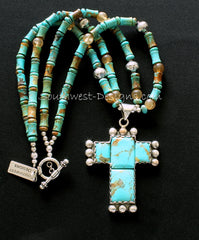 4-Stone Kingman Turquoise and Sterling Silver Cross Pendant with 2 Strands of Turquoise Discs & Cylinders, Amber Quartz and Sterling