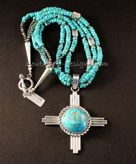 Kingman Turquoise and Sterling Silver Zia Pendant with Turquoise Rondelles
