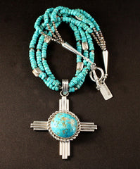 Kingman Turquoise and Sterling Silver Zia Pendant with 3 Strands of Kingman Turquoise Rondelles and Sterling