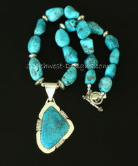 KIngman Turquoise & Sterling Pendant with 2 Strands of Blue Gem Turquoise Nuggets