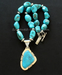 Kingman Turquoise and Sterling Silver Pendant with Blue Gem Turquoise Nuggets and Sterling Silver