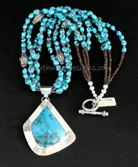 Blue Kingman Turquoise and Sterling Silver Pendant with 4 Strands of Egyptian Turquoise and Ornate Sterling