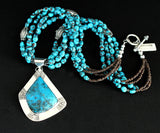 Kingman Turquoise and Sterling Silver Pendant with 3 Strands of Egyptian Turquoise and Sterling