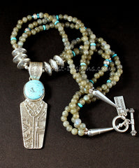 Merle House Kingman Turquoise and Sterling Silver Tufa Cast Pendant with 3 Strands of Labradorite, Turquoise and Sterling