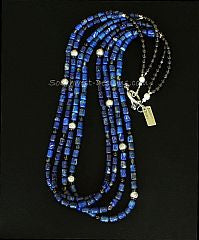 Lapis Barrel Bead 4-Strand Necklace with Smoky Quartz and Sterling Silver