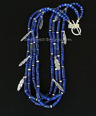 Lapis Cylinder Bead 4-Strand Necklace with Sterling Silver Beads & Feather Charms