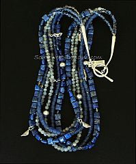 Lapis, Indonesian Glass & Labradorite 6-Strand Necklace with Sterling Silver