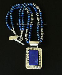 Lapis and Sterling Silver Rectangular Pendant with 2 Strands of Lapis and Oxidized Sterling