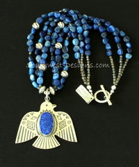 Lapis and Sterling Silver Thunderbird Pendant with 3 Strands of Blue Kyanite Nuggets and Sterling