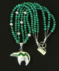 Inlaid Silver & Malachite Navajo Bear Pendant with 3 Strands of Turquoise Rounds and Sterling