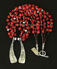 Merle House Sterling Silver Tufa Cast Pendants with 4 Strands of Bamboo Coral and Oxidized Sterling Silver