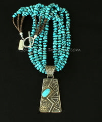 Merle House Tufa Cast Turquoise and Sterling Silver Pendant with 4 Strands of Turquoise Nuggets and Sterling
