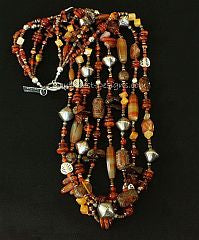 Mixed Amber and Carnelian 4-Strand Necklace with Painted Jade, Marble Tubes, Caribou Horn and Sterling Silver