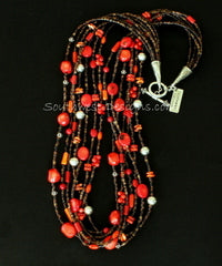 7-Strand Mixed Coral, Spiny Oyster Shell and Pen Shell Heishi Necklace with Sterling Silver