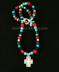 Mixed Gemstone Necklace with Sterling Silver Cross, Beads and Toggle Clasp