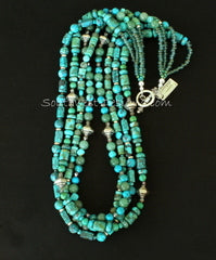 Mixed Turquoise 4-Strand Necklace with Aventurine, Fire Polished Glass and Sterling Silver