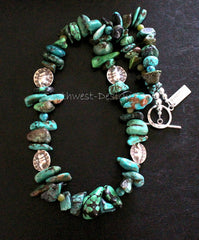 Mixed Blue and Green Turquoise Graduated Nugget Necklace with Jade & Turquoise Rounds and Hill Tribe Silver Elephant Beads