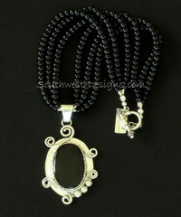 Obsidian and Sterling Silver Pendant with 3 Strands of Onyx Rounds and Sterling Toggle Clasp