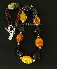 Baltic Amber Oval and Nugget Necklace with Sterling Silver Disc, Amber Chip and Sterling Toggle Clasp