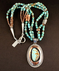 Number Eight Turquoise, Sterling Silver and Copper Wrapped Pendant with 3 Strands of Pilot Mountain Turquoise Cubes, Fire Polished Glass, Copper and Sterling