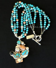 Kingman Turquoise, Onyx, Sterling Silver and Copper Art Pendant with 3 Strands of Imperial Jasper, Onyx and Sterling
