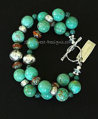 Pilot Mountain Turquoise 2-Strand Bracelet with Czech Glass and Sterling Silver